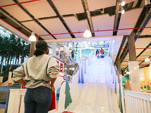 Winter wonderland slide at the mississippi Children's Museum.