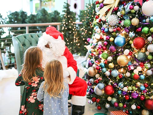 Two young girls visiting santa at the north pole.