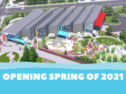 Opening Spring of 2021 Graphic with Picture of playground