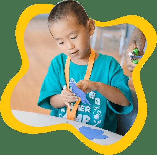 Boy working on a craft