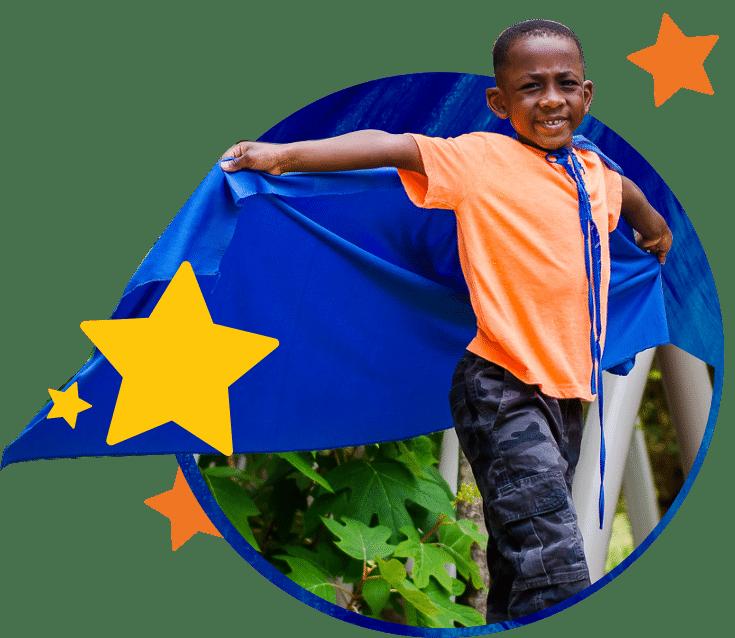 Boy in a blue cape