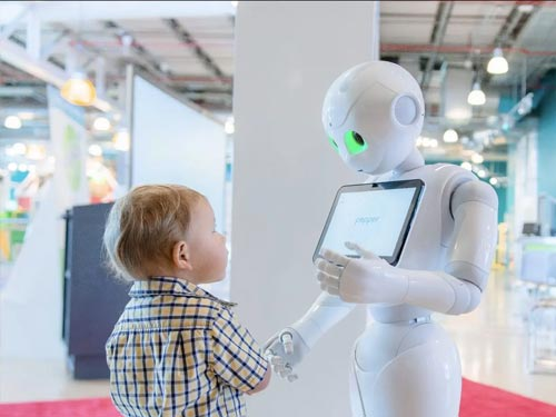 Kid looking at alien with ipad