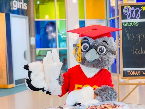 Bird with graduation hat